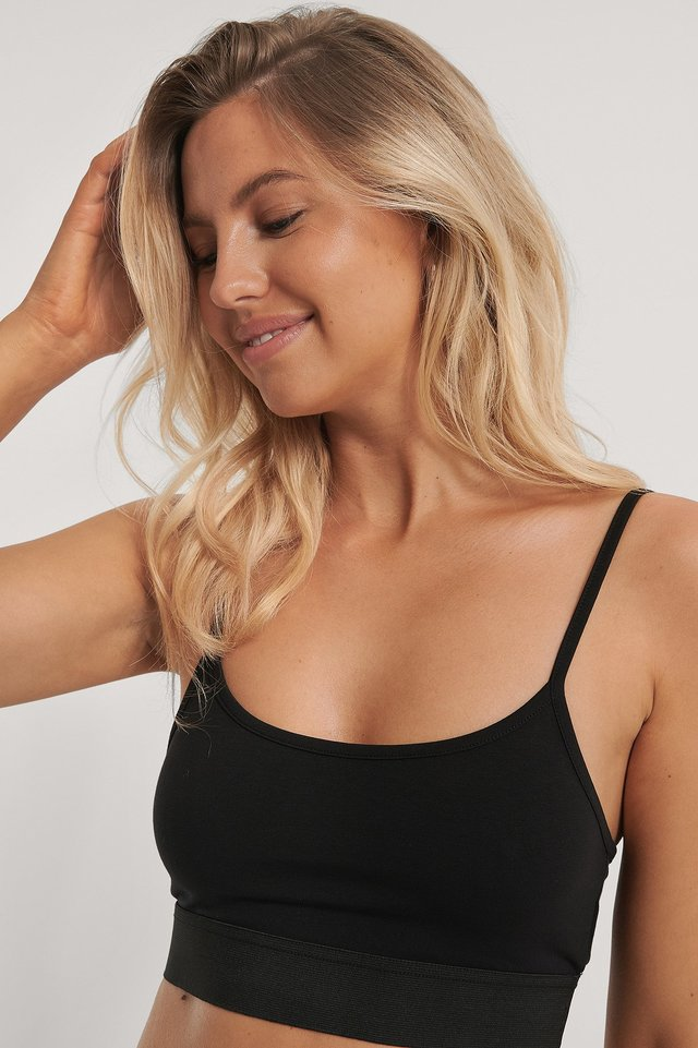 Organic Slim Cropped Top Black