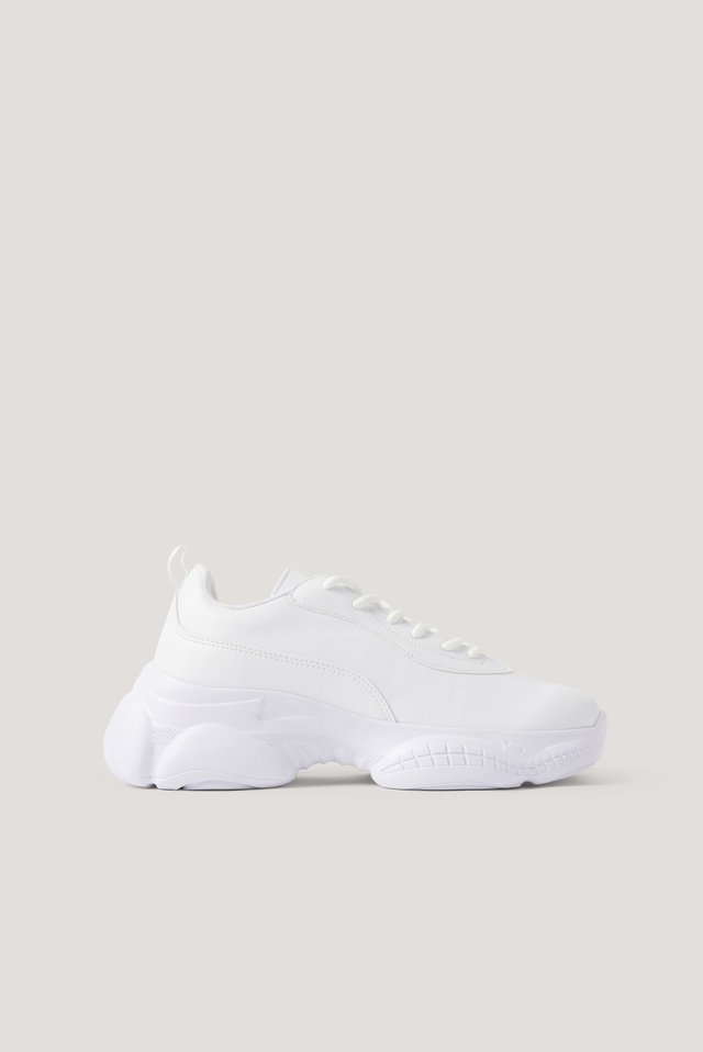 White Slim Graphic Sole Trainers