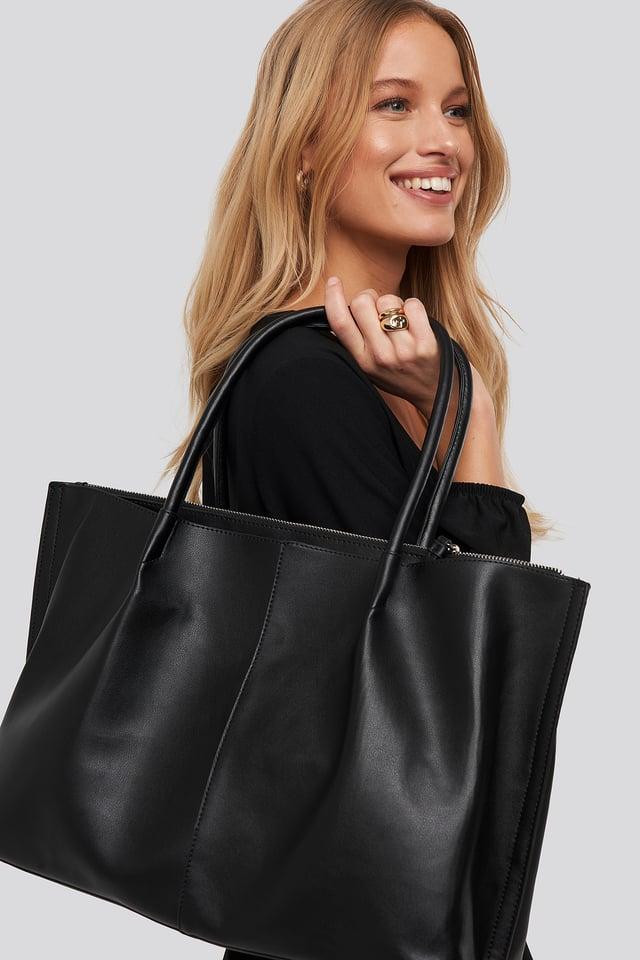 Slim Handle Shopper Black