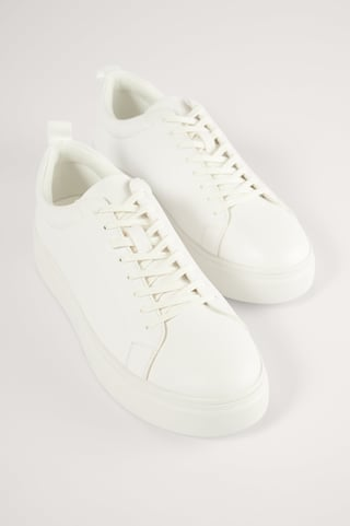 White Slim Laces Court Trainers