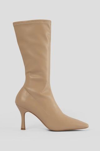 Beige Slim Long Toe Boots