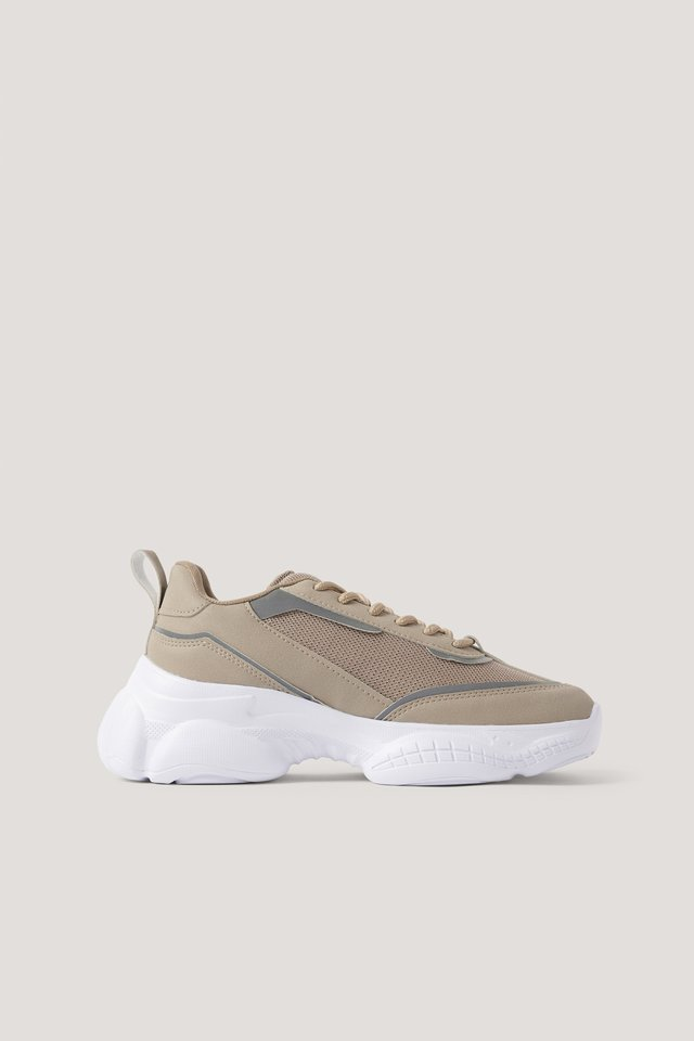 Beige Slim Mesh Mix Trainers