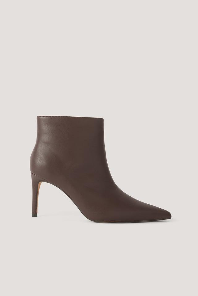 Chocolate Smalle Spidse Støvler Med Stilethæl