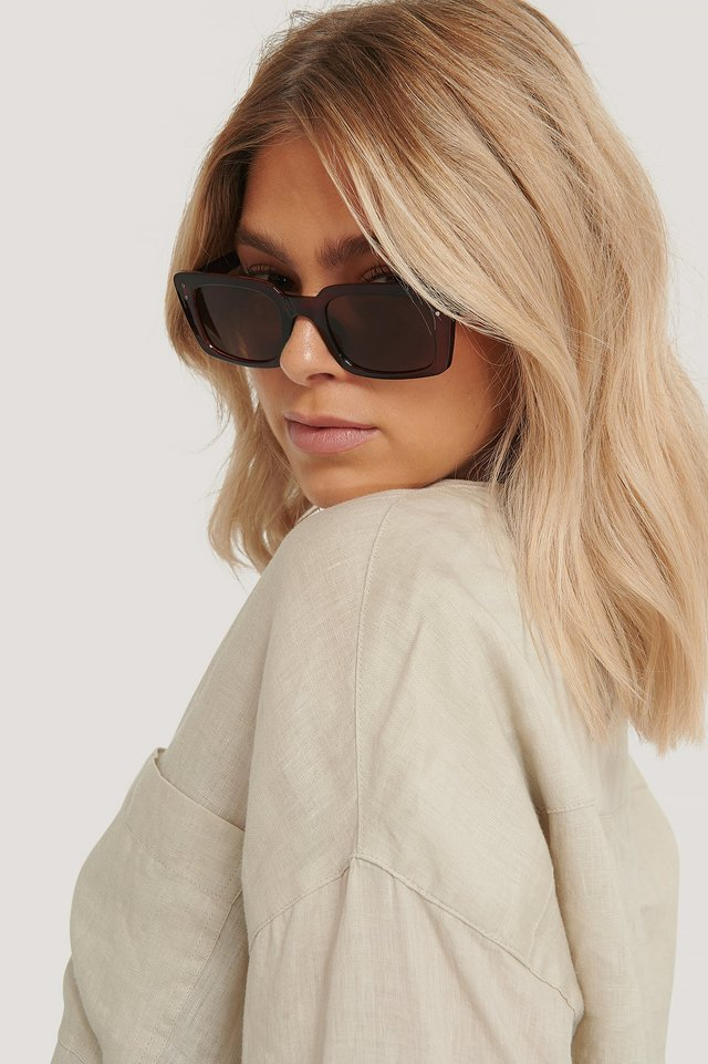 Slim Rectangular Wide Frame Sunglasses Brown