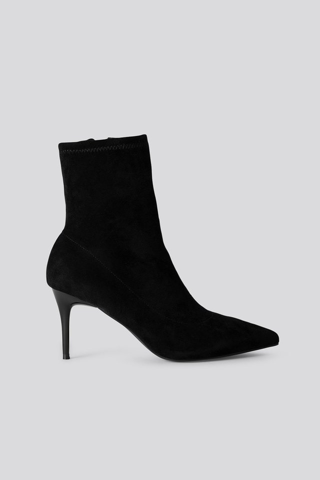 Slim Stiletto Pointy Boots Black