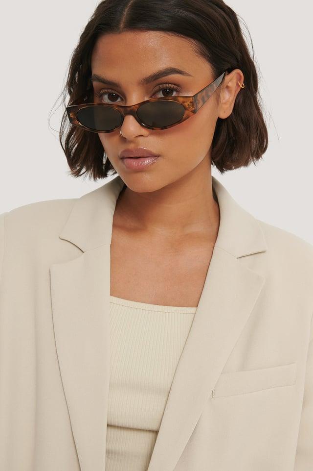 Tortois Smale Solbriller Med Skarpe Kanter