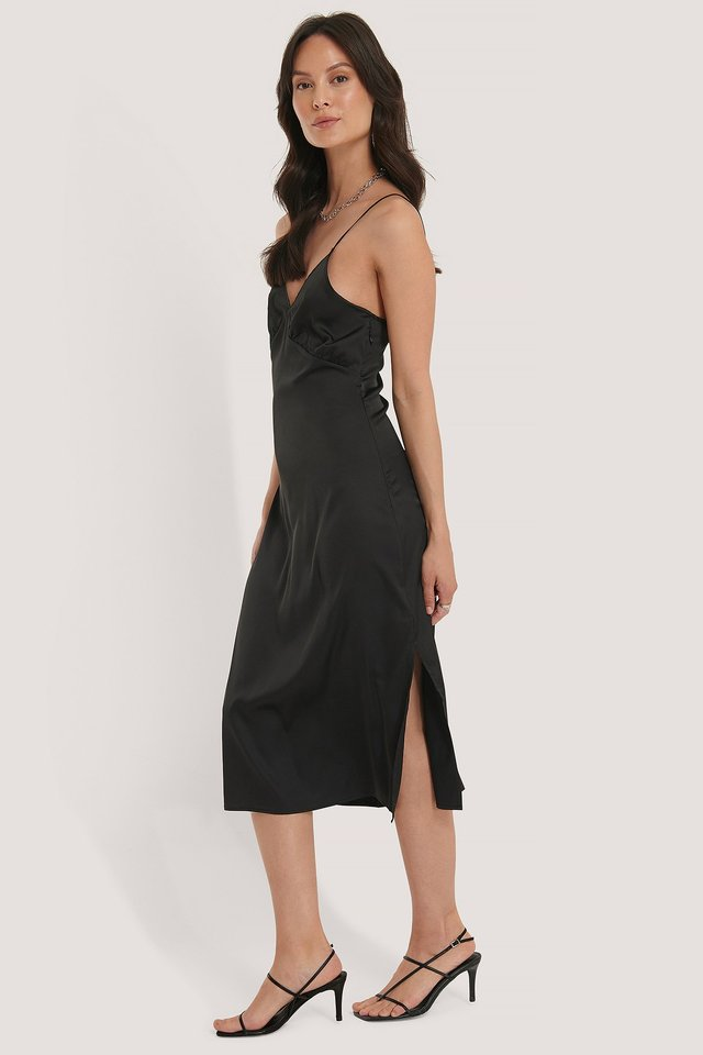 Slip Satin Slit Dress Black