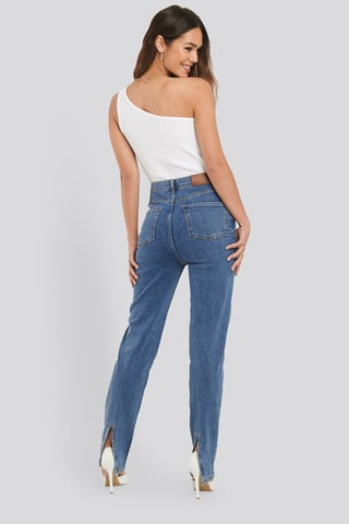 Mid Blue Wash Slit Back Denim