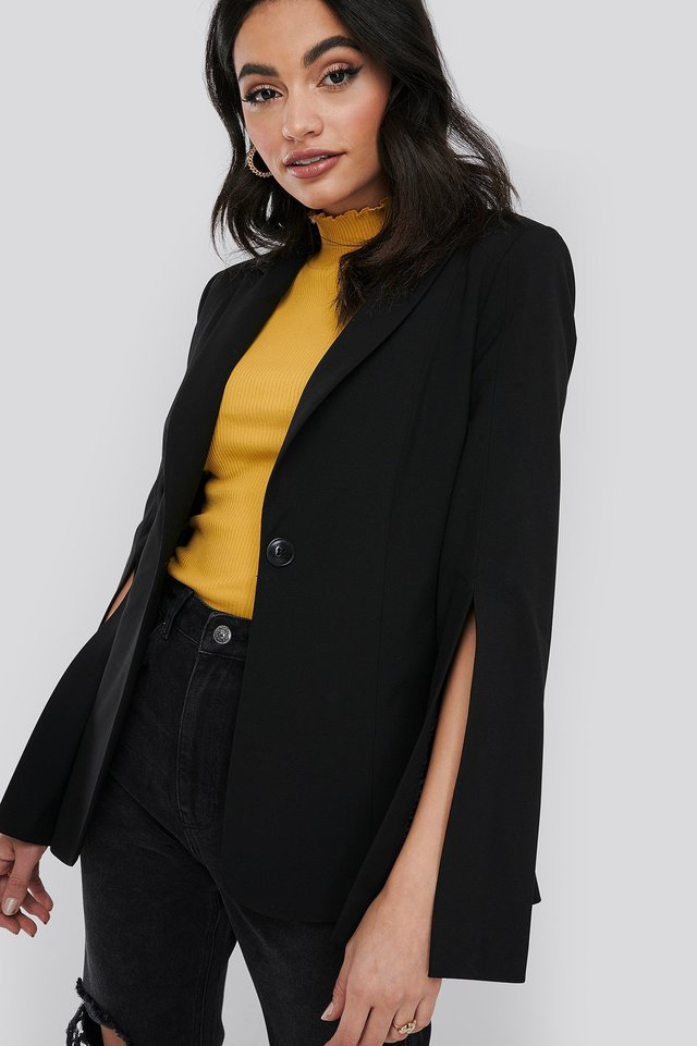 Slit Sleeve Blazer Black