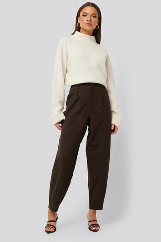 Brown Løse Bukser Med Indsnit