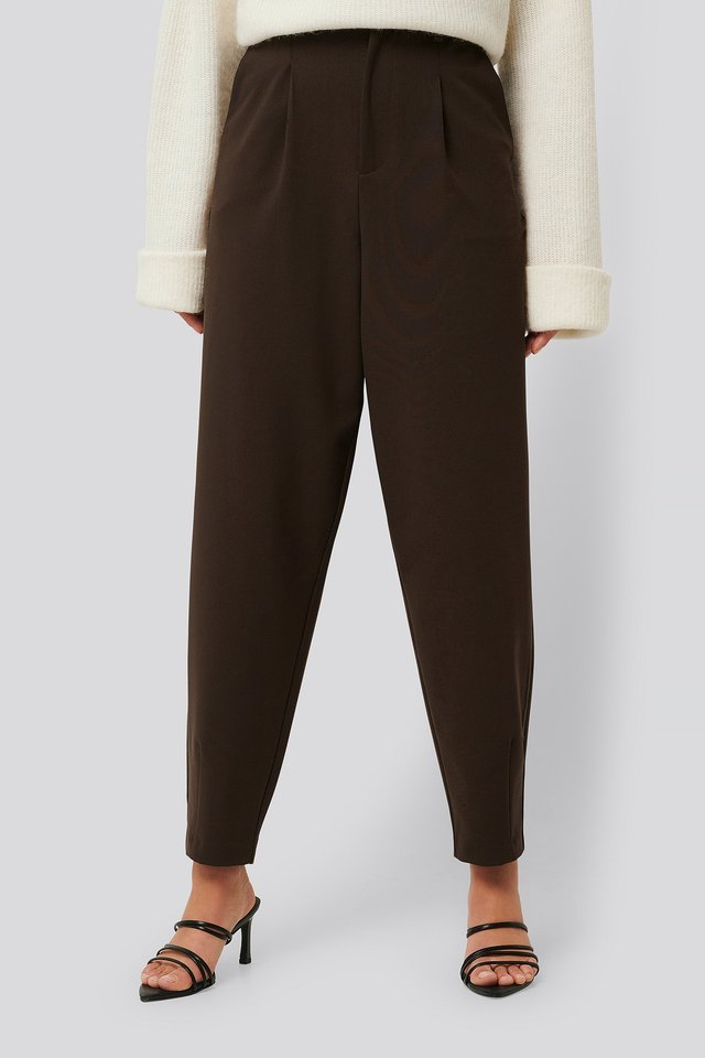 Slouchy Dart Pants Brown