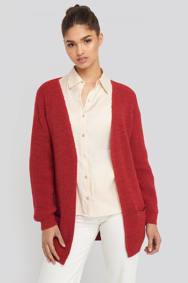 Red Slouchy Open Front Cardigan