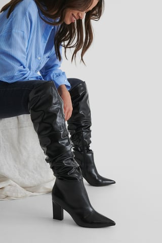 Black Weite Hohe Stiefel