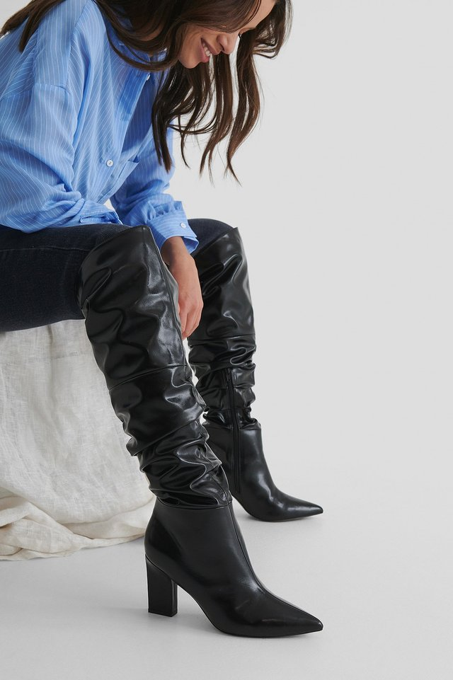 Black Slouchy Shaft Knee Boots