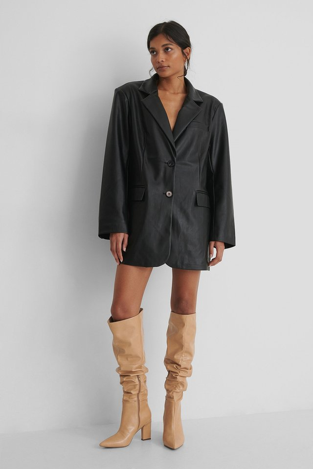 Caramel Slouchy Shaft Knee Boots