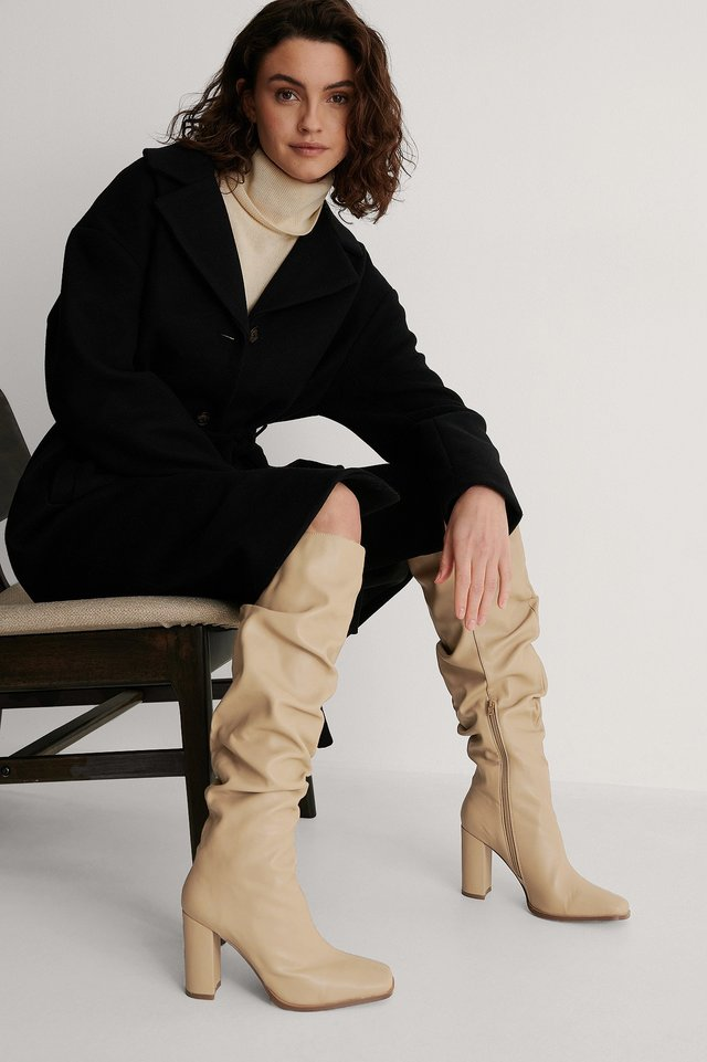 Beige Slouchy Shaft Squared Toe Boots