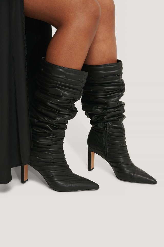 Black Slouchy Structured Shaft Boots