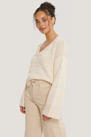 Offwhite Slouchy V-neck Knitted Sweater
