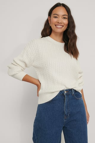 Offwhite Small Cable Knit Sweater