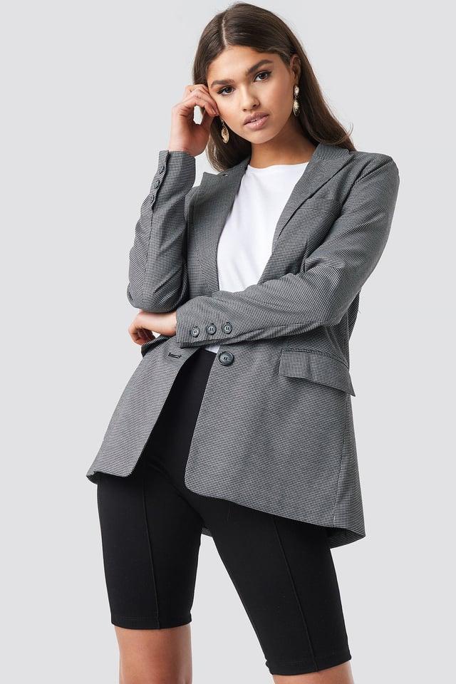 Small Check Straight Fit Blazer Black