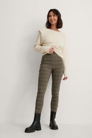 Grey Check Small Check Super Stretch Pants