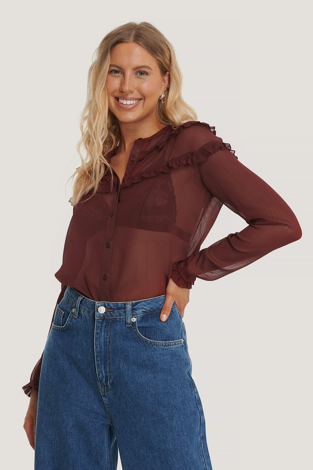 Oxblood Small Frill Blouse