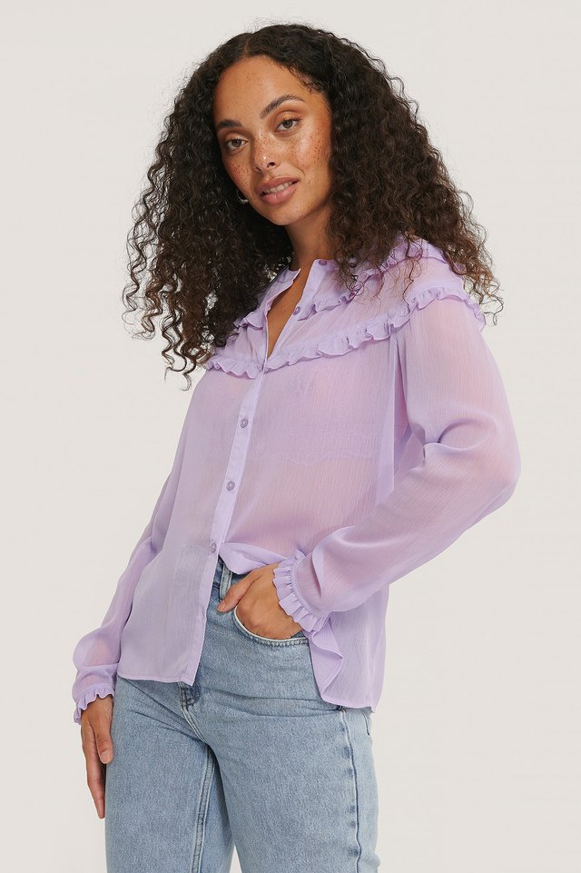 Lavender Small Frill Blouse