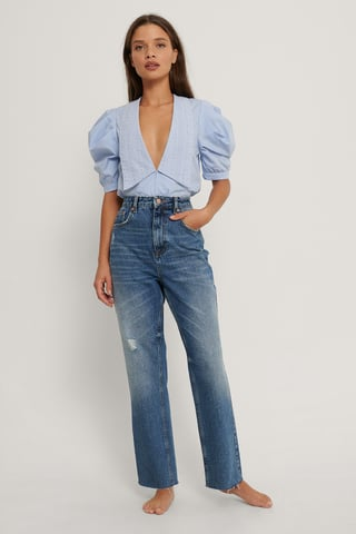 Mid Blue Small Ripped Details Straight High Waist Jeans