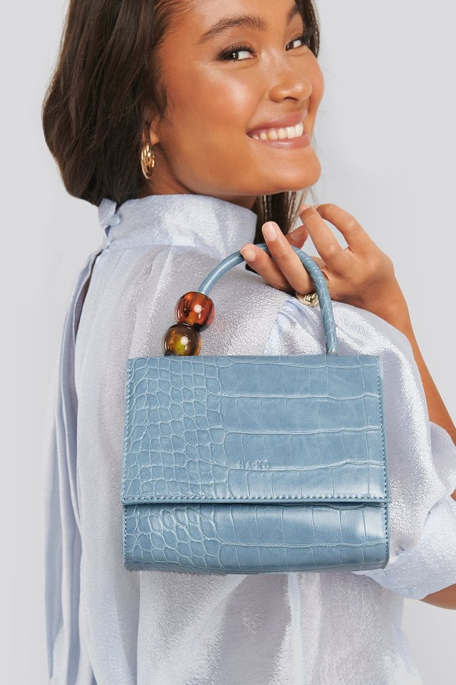 Small Squared Top Handle Bag Light Blue