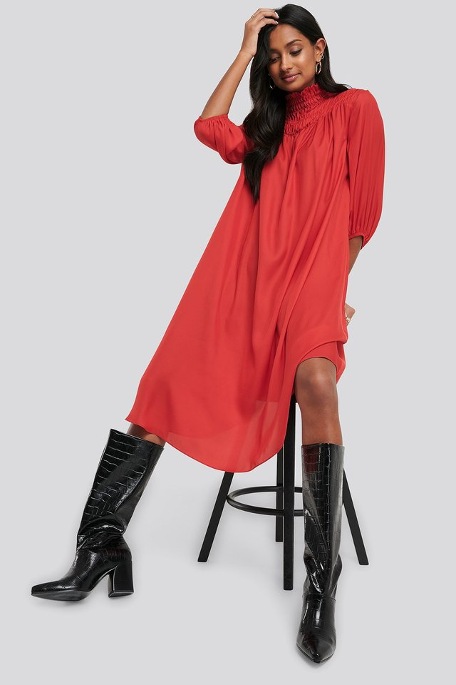 Smock Chest Dress Red