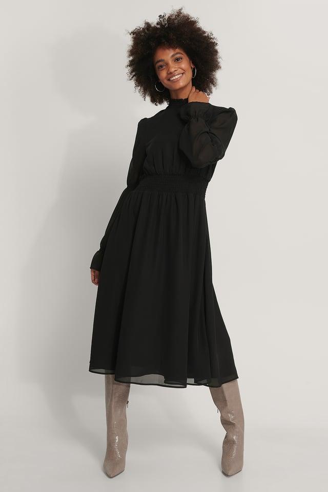 Vestido Midi De Gasa Con Detalle De Nido De Abeja Black
