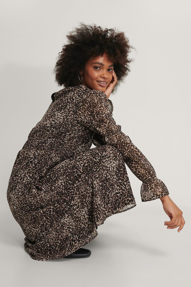 Vestido Midi De Gasa Con Detalle De Nido De Abeja Leopard
