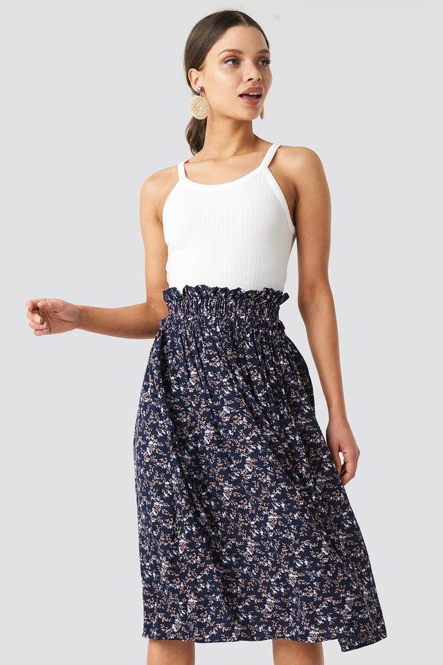 Smock Detail Flower Print Skirt Dark Blue
