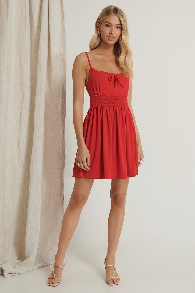 Red Recycled Smock Detail Mini Dress