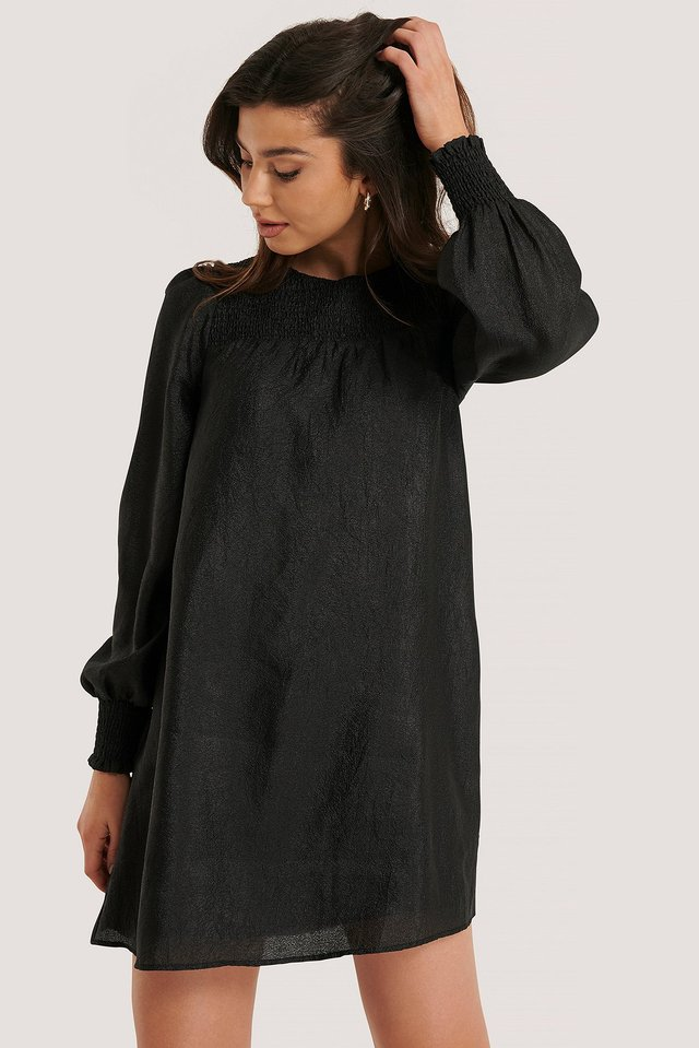 Smock Detail Organza Dress Black