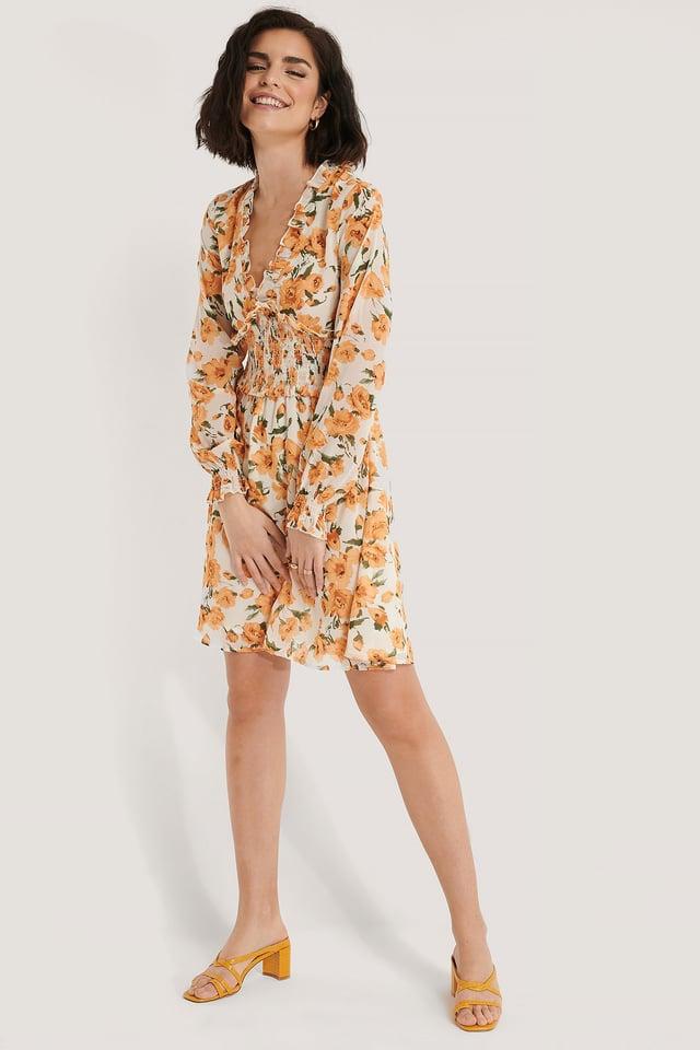 Smock Detail V-Neck Mini Dress Orange flower