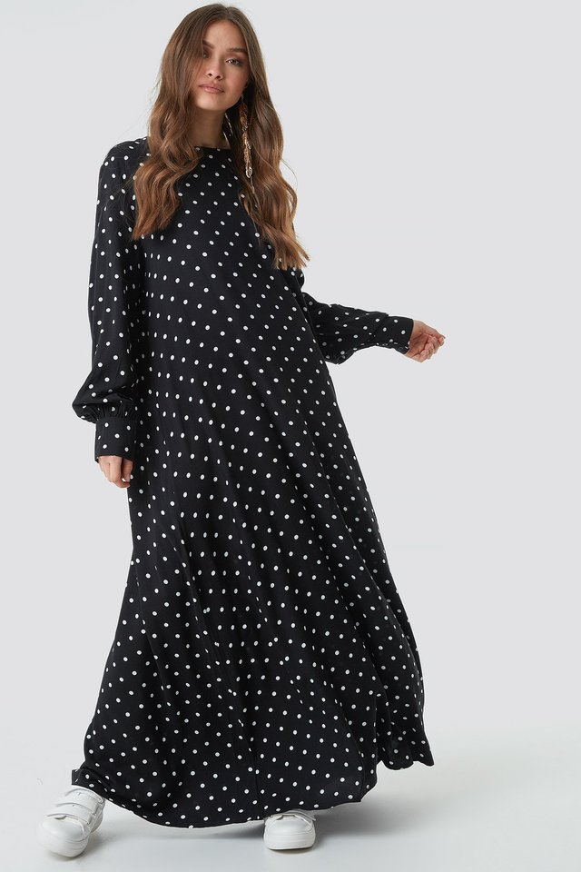Smock Maxi Dress Black/White