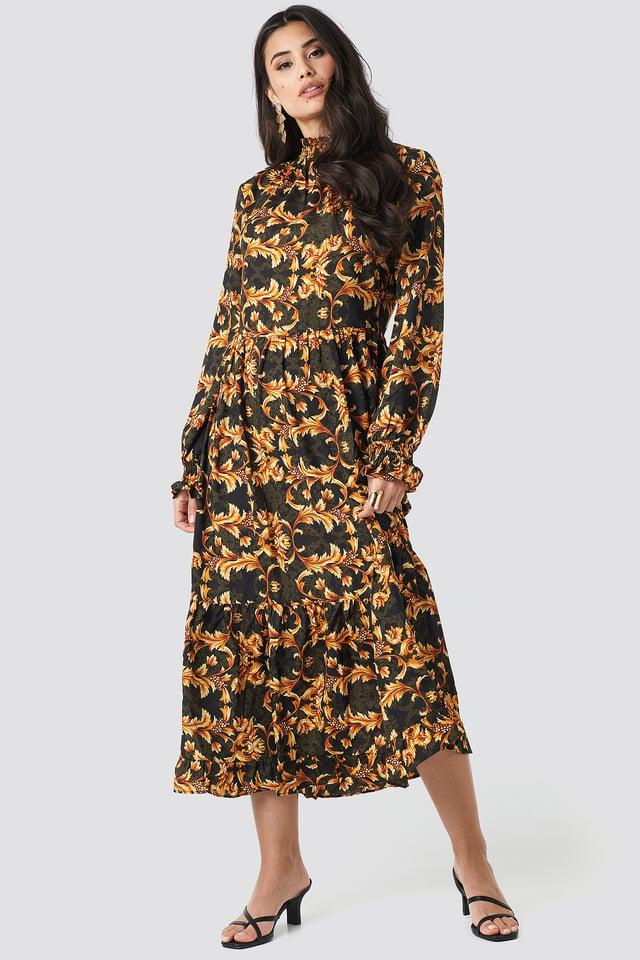 Smock Neck Printed Ankle Dress Black