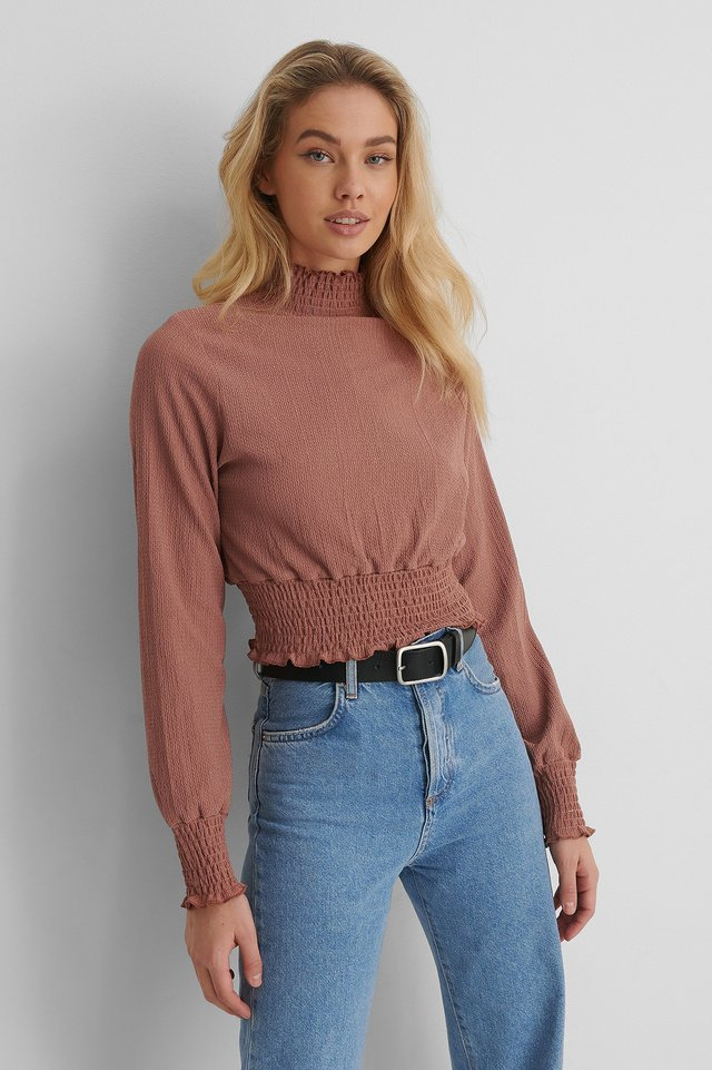 Dusty Dark Pink Crepe Top Med Plisseret Talje