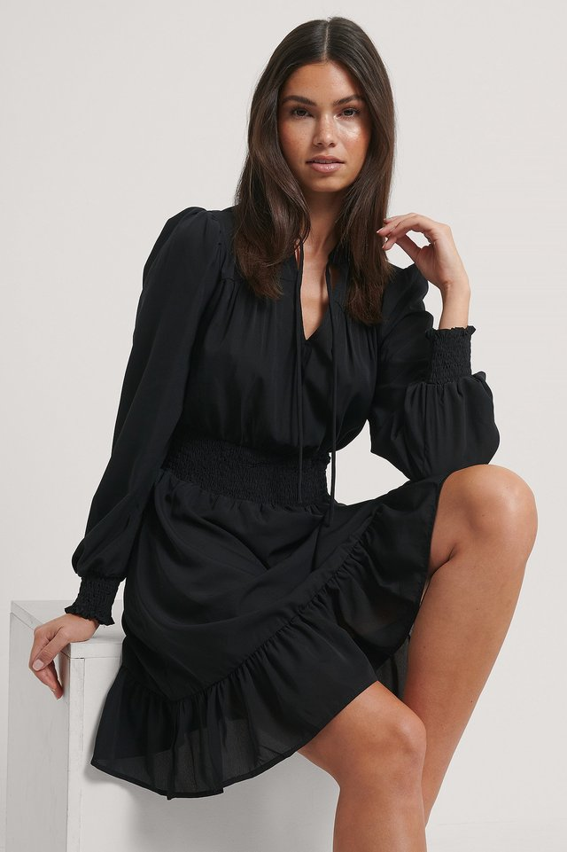 Smock Waist V-Neck Dress Black