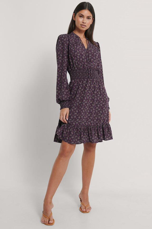 Smock Waist V-Neck Dress Berry Floral