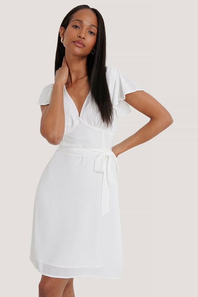 Smocked Back Flounce Dress White