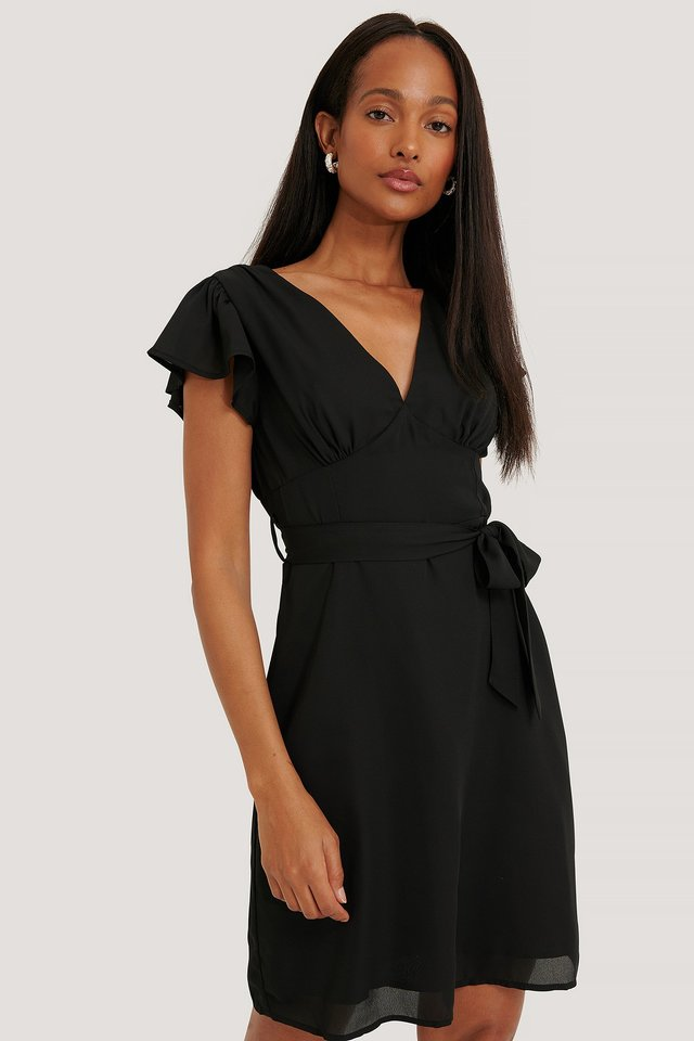 Smocked Back Flounce Dress Black