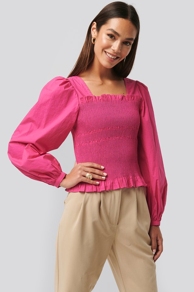 Smocked Balloon Sleeve Blouse Fuchsia