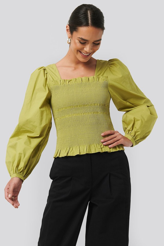 Smocked Balloon Sleeve Blouse Lime