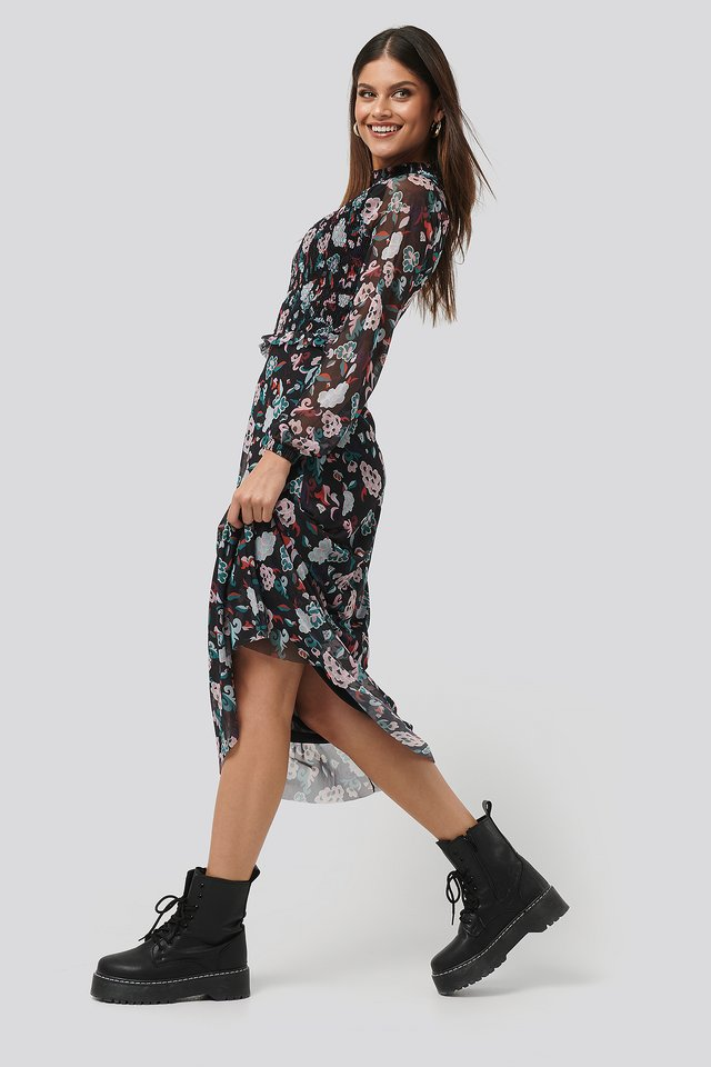 Smocked Detail Mesh Dress Black/Flower Print