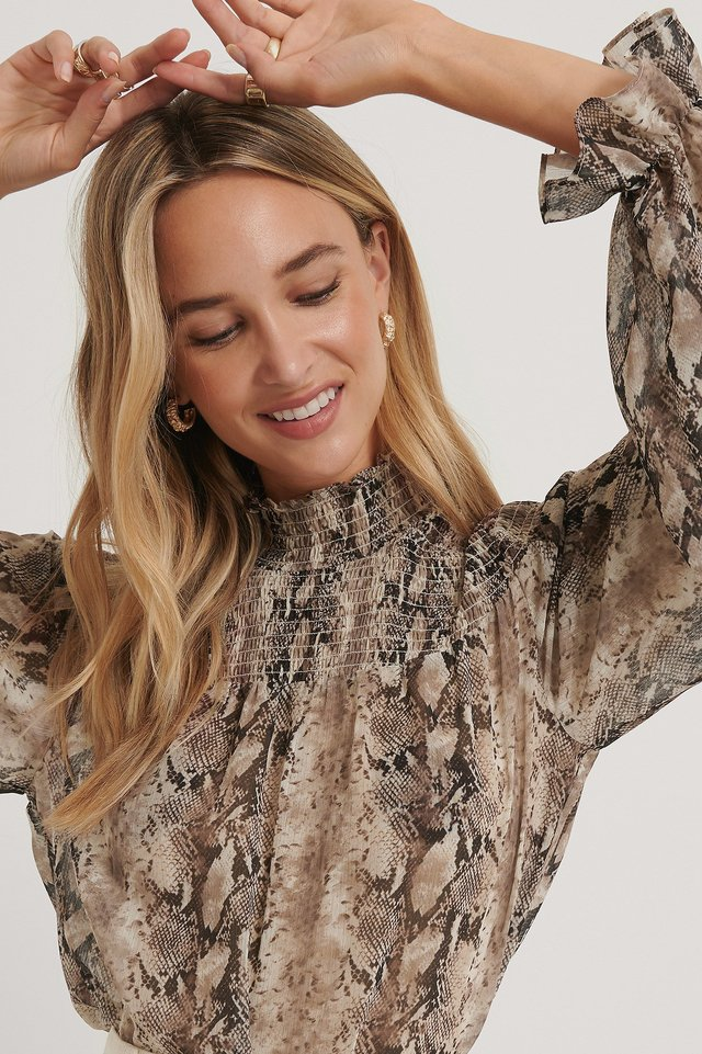 Smocked Detail Printed Blouse The Fashion Fraction x NA-KD