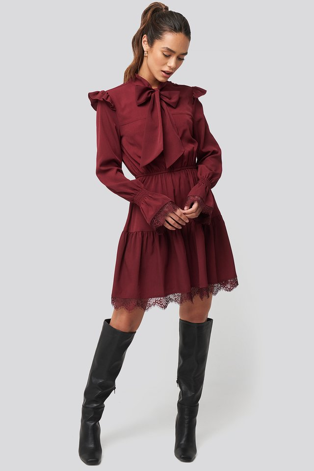 Smocked Flounce Lace Detail Dress Burgundy