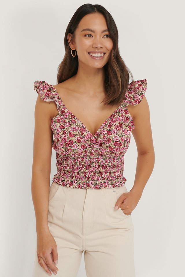 Smocked Flounce Top Pink Flower