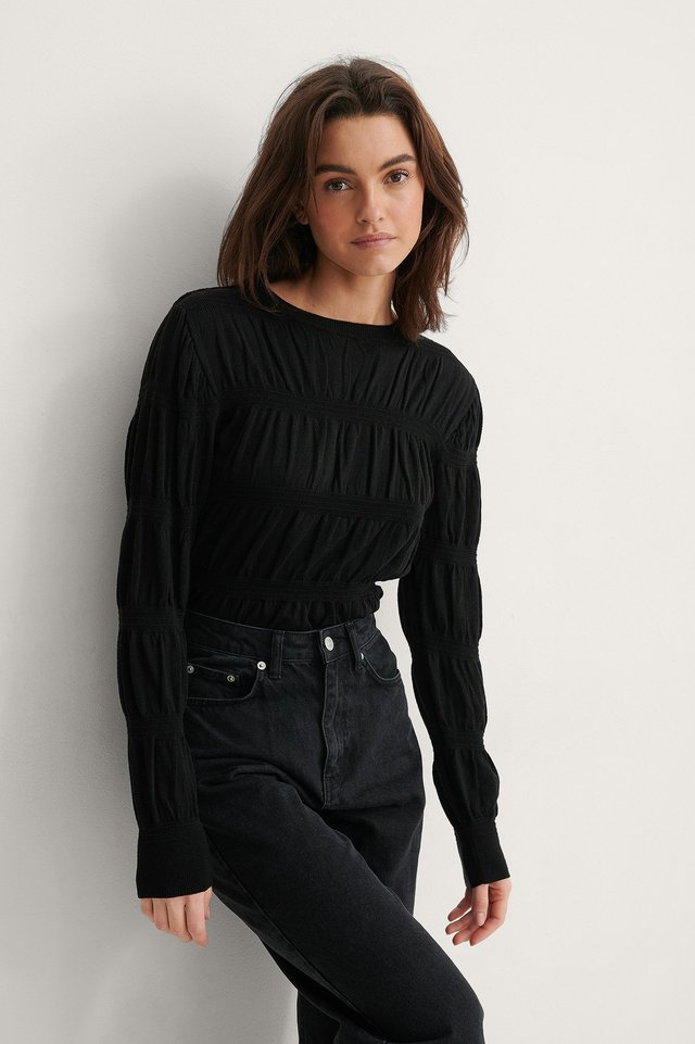 Black Smocked Knitted Sweater